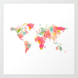 world map pink floral watercolor Art Print