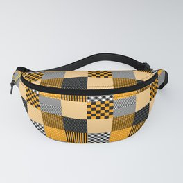 Orange Black and White Creepy Halloween Patchwork Quilt Fanny Pack