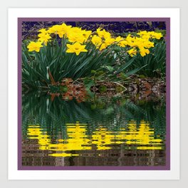 PUCE & YELLOW DAFFODILS WATER REFLECTION PATTERN Art Print