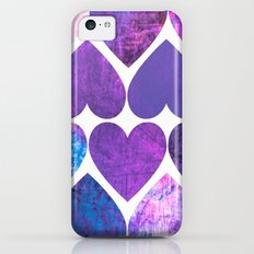 Mod Purple & Blue Grungy Hearts Design Slim Case iPhone 5c