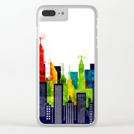 Colorful City Buildings And Skyscrapers In Watercolor, New York Skyline, Wall Art Poster Decor, NYC Clear iPhone Case