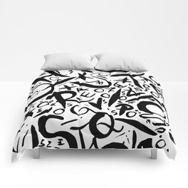 Graphic Black and White Letters  Comforters