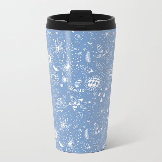 White doodle flowers pattern on blue Metal Travel Mug