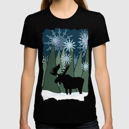 Moose in the Snowy Forest T-shirt