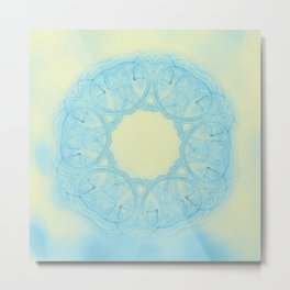 Blue heart mandala Metal Print