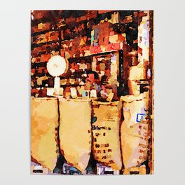 Aleppo: coffee bags in the grocery store Poster