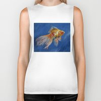 goldfish Biker Tanks featuring Goldfish by Michael Creese