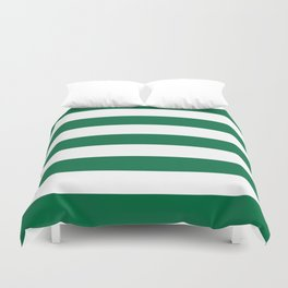 Cadmium green - solid color - white stripes pattern Duvet Cover