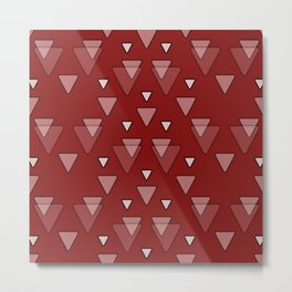 Geometric Triangles in Red Metal Print