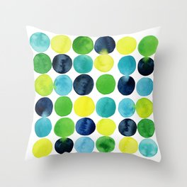 summer waterdrops// colorful handpainted dots//watercolor shapes Throw Pillow