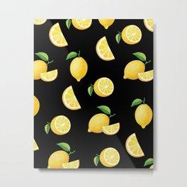 Lemons on Black Metal Print