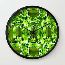 August Babies Peridots Birthstone Abstract Purple Design Wall Clock