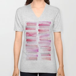 16   181101 Watercolour Palette Abstract Art   Lines   Stripes   Unisex V-Neck