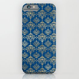 Elegant Blue and Gold Damask Pattern iPhone Case