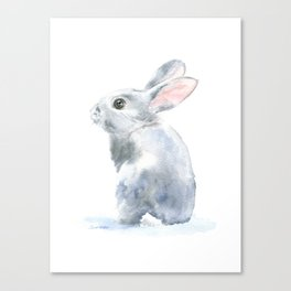 Gray Bunny Rabbit Watercolor Painting Canvas Print
