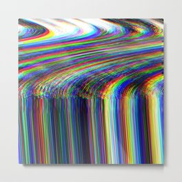 Glitch psychedelic background. Old TV Metal Print