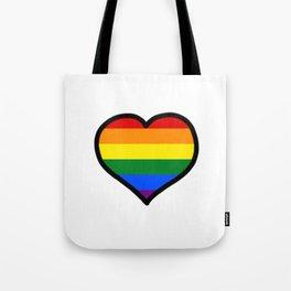 LGBT+ Rainbow Pride Heart Tote Bag