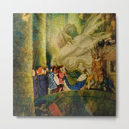 Sleeping Beauty The Aged King Pleads with the Good-Fairy Fairy Tale Portrait by Leon Bakst Metal Print