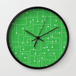 Cartoon Circuit Board Green and White Wall Clock