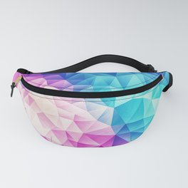 Pink - Ice Blue / Abstract Polygon Crystal Cubism Low Poly Triangle Design Fanny Pack