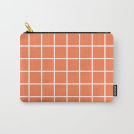 GRID (WHITE & CORAL) Carry-All Pouch