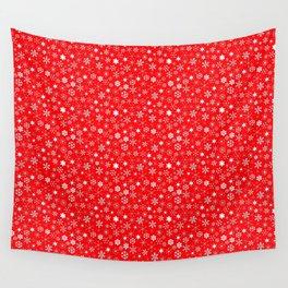 Velvet Red & White Christmas Snowflakes Wall Tapestry