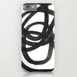 Black And White Minimalist Mid Century Abstract Ink Art Circle Swirls Black Circles Minimal iPhone Case