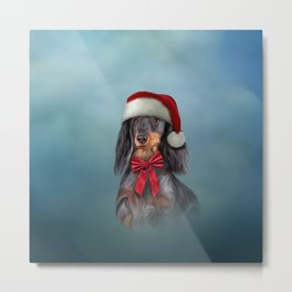 Dog Dachshund in red hat of Santa Claus Metal Print