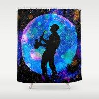 jazz Shower Curtains featuring Jazz by Saundra Myles