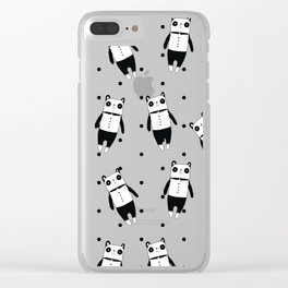 Black and white panda dotted pattern Clear iPhone Case