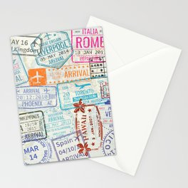 Vintage World Map with Passport Stamps Stationery Cards