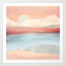 Mint Moon Beach Art Print