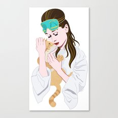 Holly Golightly's cat / Audrey Hepburn Canvas Print