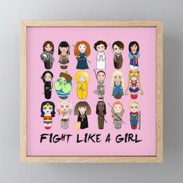 Kokeshis Fight like a girl Framed Mini Art Print