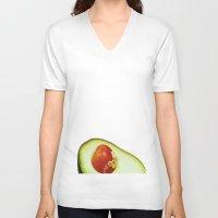 avocado V-neck T-shirts featuring Avocado by Olivier P.