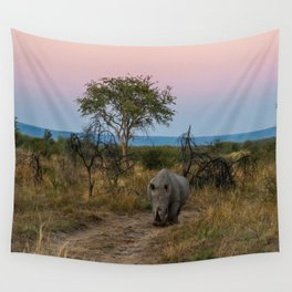 A Rhinoceros and a Sunrise in South Africa Wall Tapestry