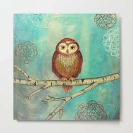 Blue Birch Owl Metal Print