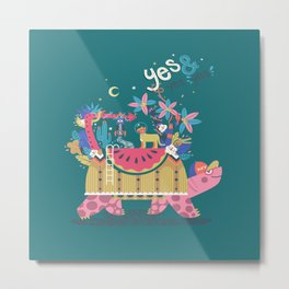 Yes and Yes Yes 005 Turtle Metal Print