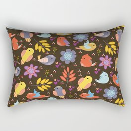 Cute doodle autumn pattern with birds and leaves Rectangular Pillow