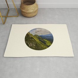 Green Musical Mountains Round Photo Frame Rug