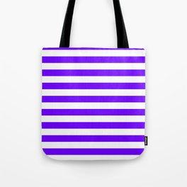 Narrow Horizontal Stripes - White and Indigo Violet Tote Bag