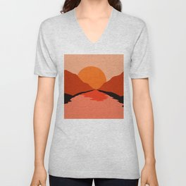Abstraction_Sunset_Mountains_001 Unisex V-Neck
