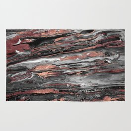 Modern rose gold abstract marbleized paint Rug