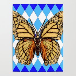 ABSTRACTED  BROWN SPICE  MONARCHS BUTTERFLY  &   BLUE-WHITE HARLEQUIN PATTERN Poster