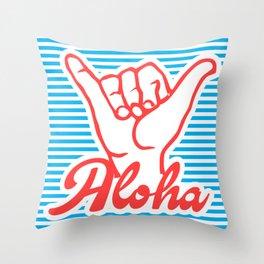 Aloha, Shaka Hand, blue version, summer poster, Throw Pillow