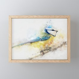 Yellow blue tit watercolour painting watercolour minimalism artsy illustration Framed Mini Art Print