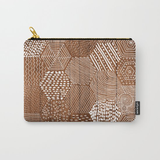 hexagon doodle patterns on wood Carry-All Pouch
