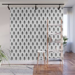Hand drawn black and white tree Wall Mural