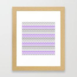 Grey Gray Purple Ombre Chevron Framed Art Print