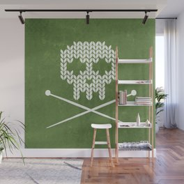 Knitted Skull - White on Olive Green Wall Mural